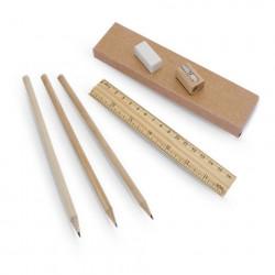 Set matite, righello, temperino in legno con gomma